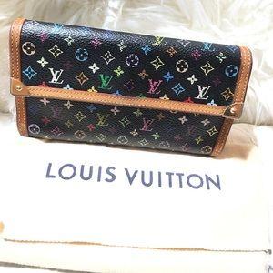 Louis Vuitton MultiColor Black Long Wallet